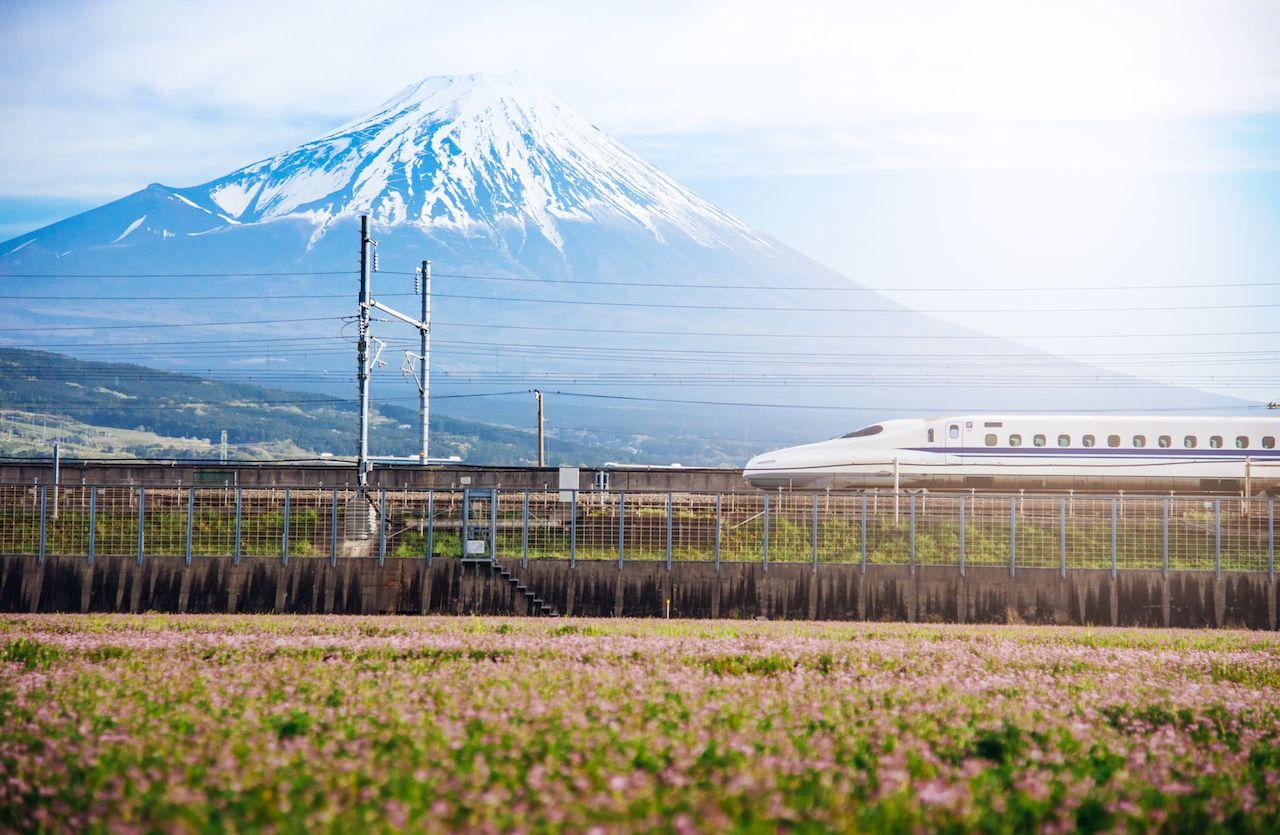 Mt Fuji and Tokaido Shinkansen, Shizuoka, Japan