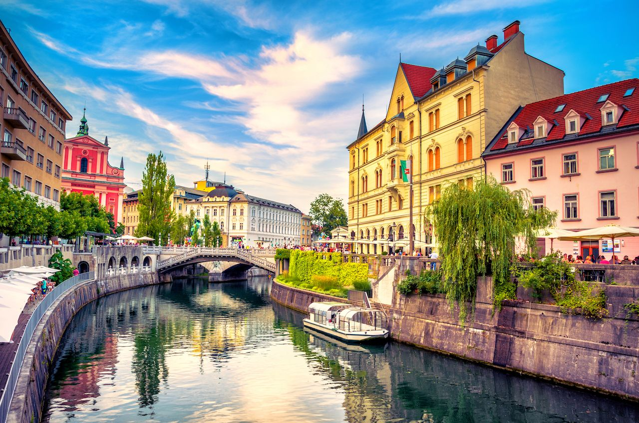 Ljubljanica river canal in Ljubljana old town