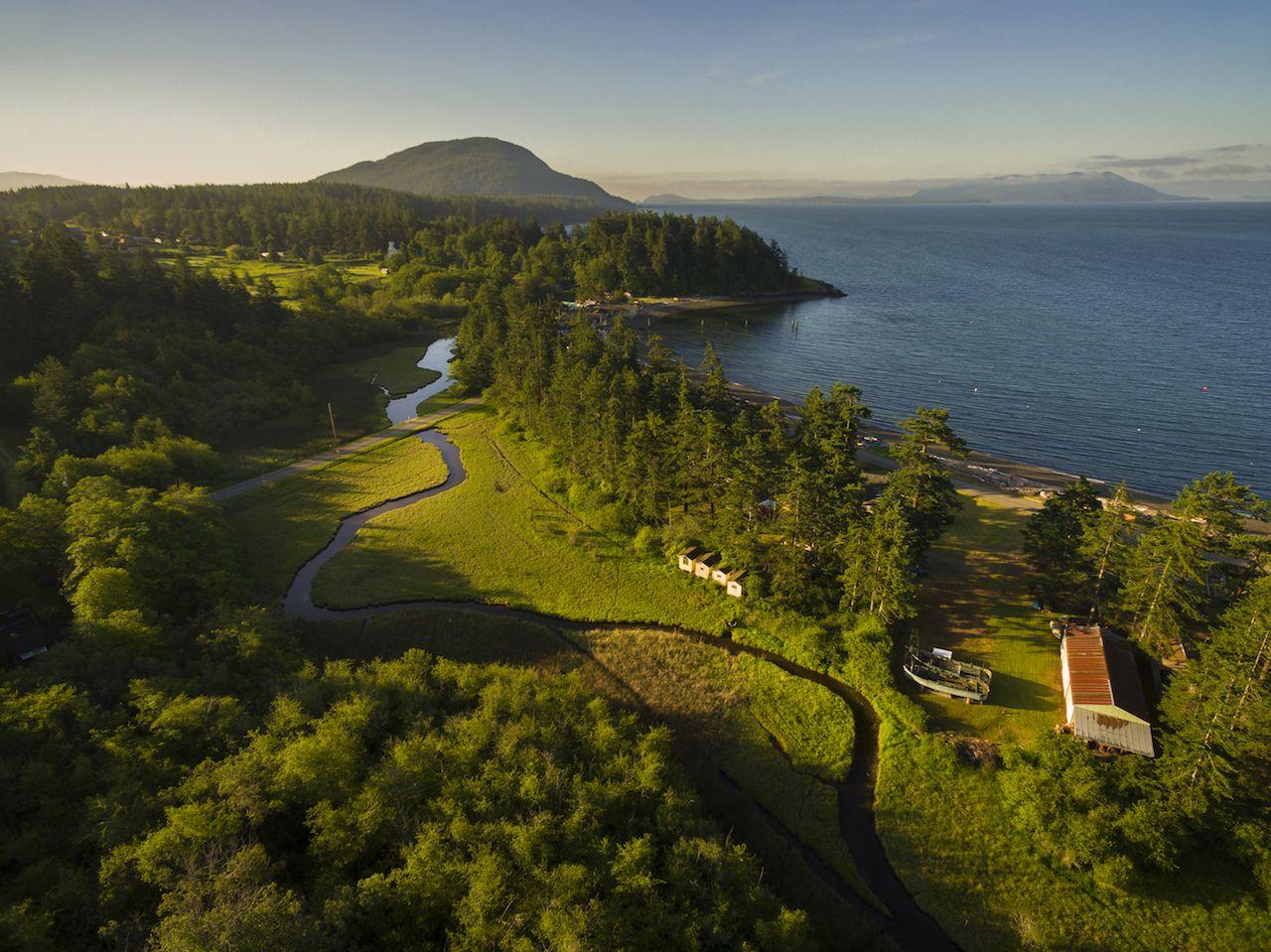 Aerial view Lummi Island