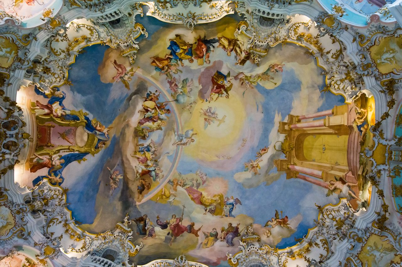 World heritage wall and ceiling frescoes of wieskirche church in bavaria