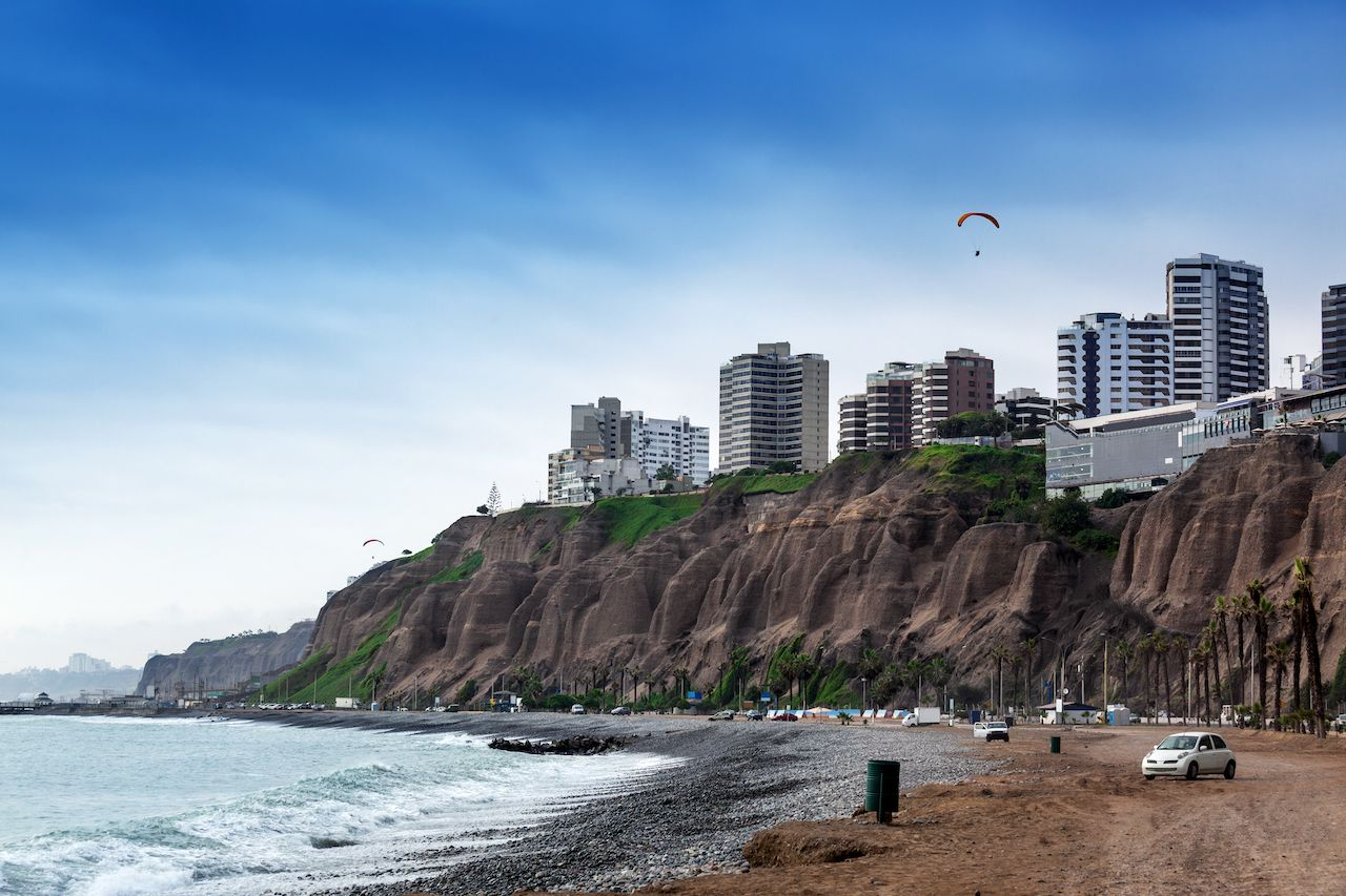 Beach and cityscape in Lima, Peru