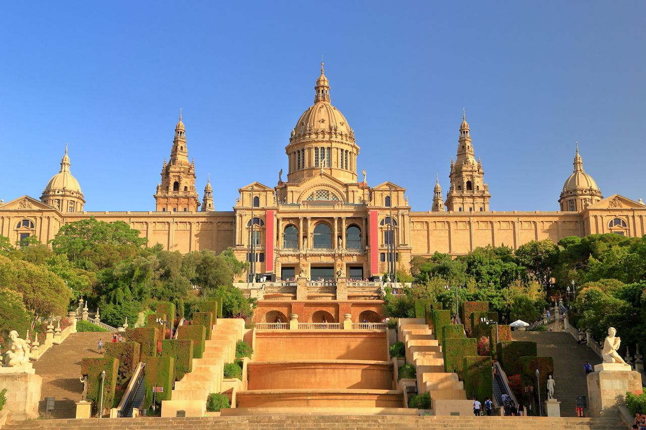Beautiful building of the National Art Museum of Catalonia on a hill in Barcelona Spain