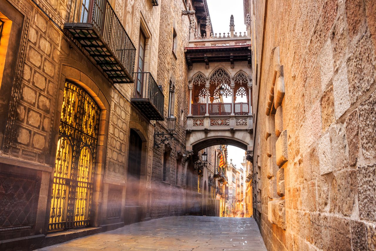 Bridge between buildings in Barri Gotic quarter of Barcelona in Spain