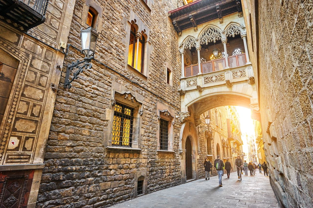 Carrer del Bisbe Street in the Ghotic Quarter in Barcelona Spain