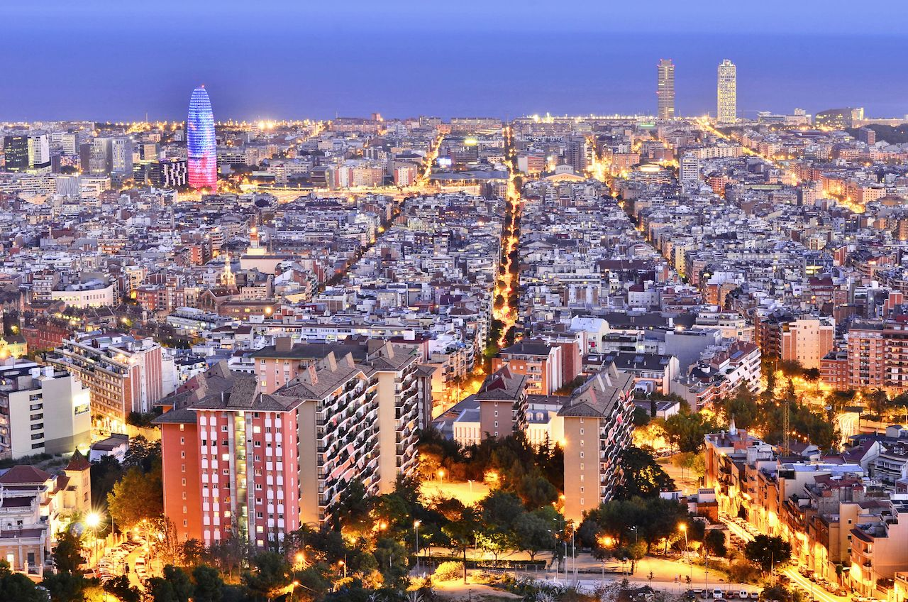 City of Barcelona illuminated at dusk