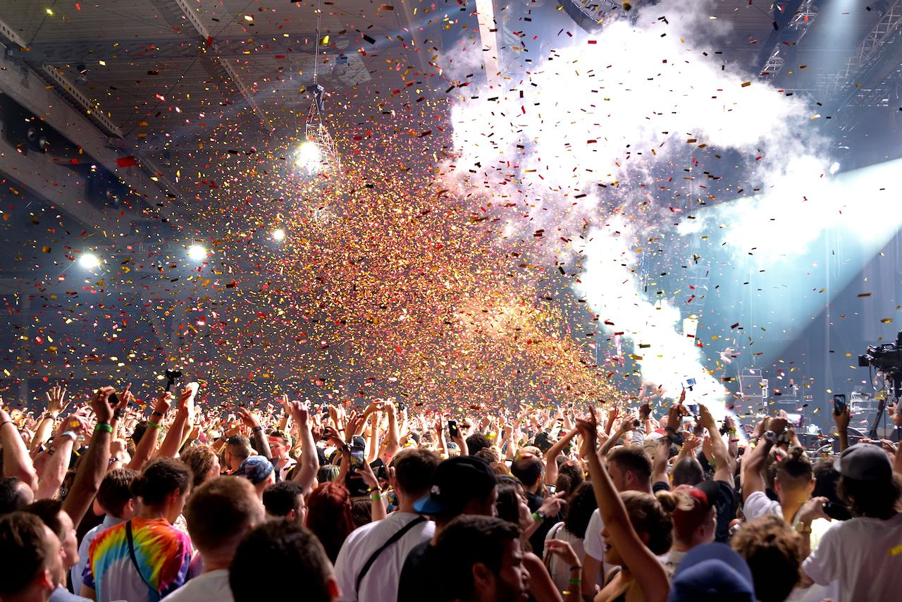 Crowd in a concert at Sonar Festival in Barcelona Spain