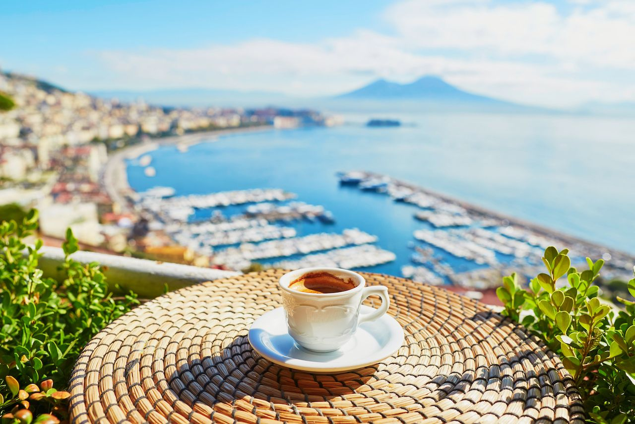 Cup of fresh espresso coffee in Italy