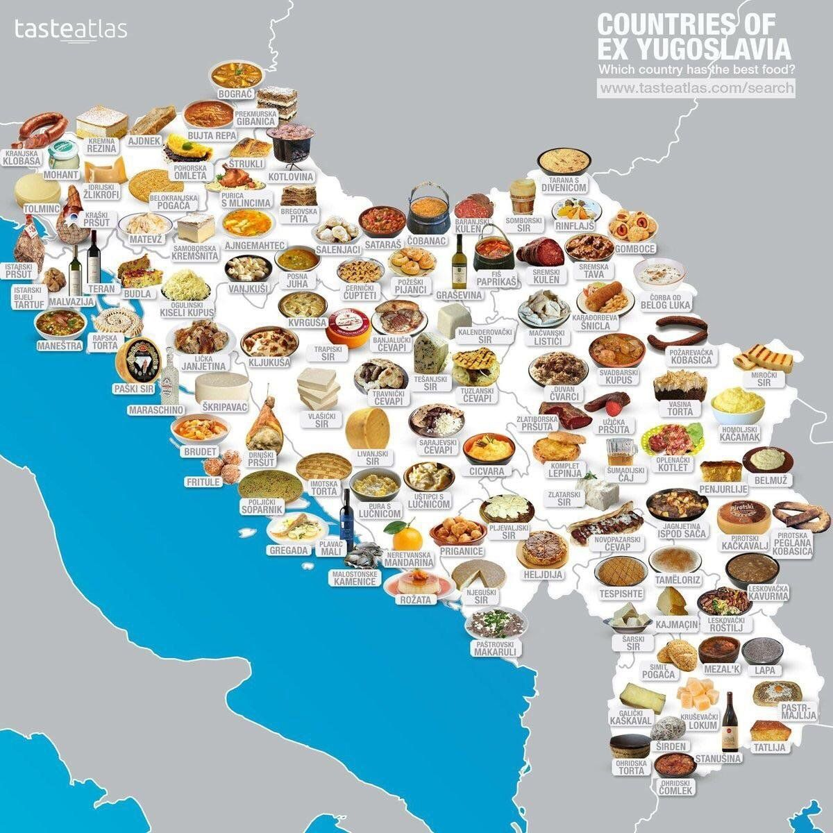 Food map of each ex-Yugoslavian country's favorite dish