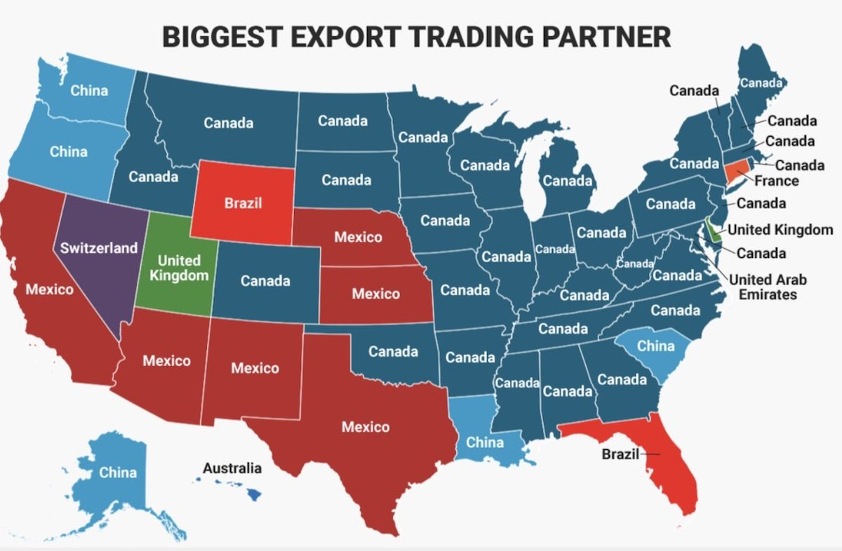 Show A Map Of The United States Of America.These Maps Show Each Us State S Biggest Import And Export Partner