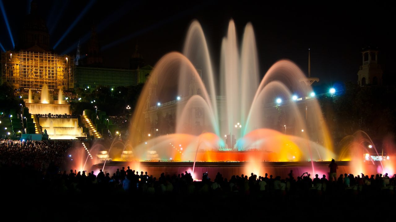 Magic fountain of Montjuic light show at Plaza Espanya in Barcelona