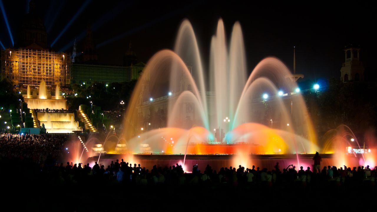 Magic fountain of Montjuic light show at Plaza Espanya in Barcelona