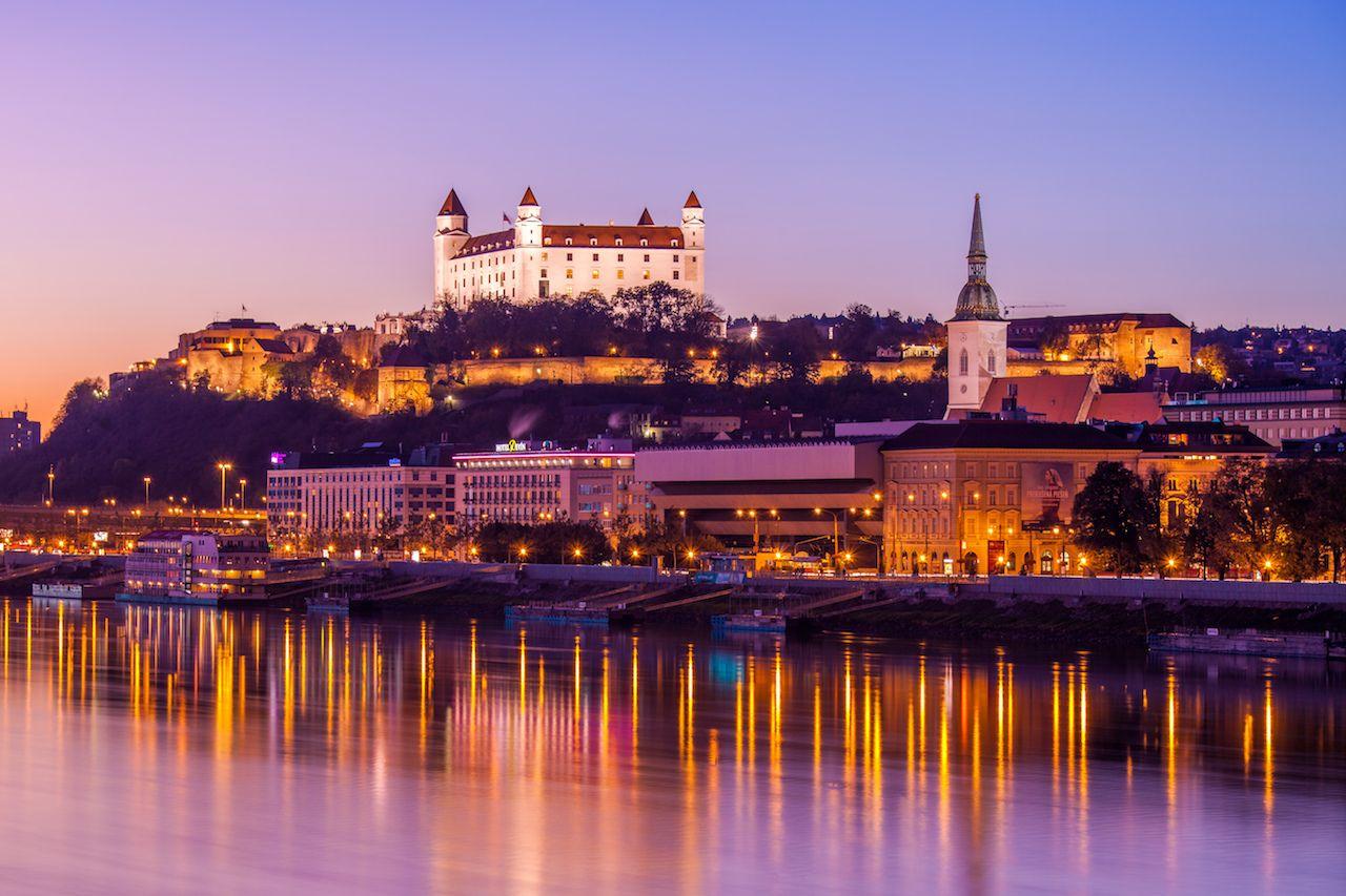 Night shot of Bratislava, Slovakia
