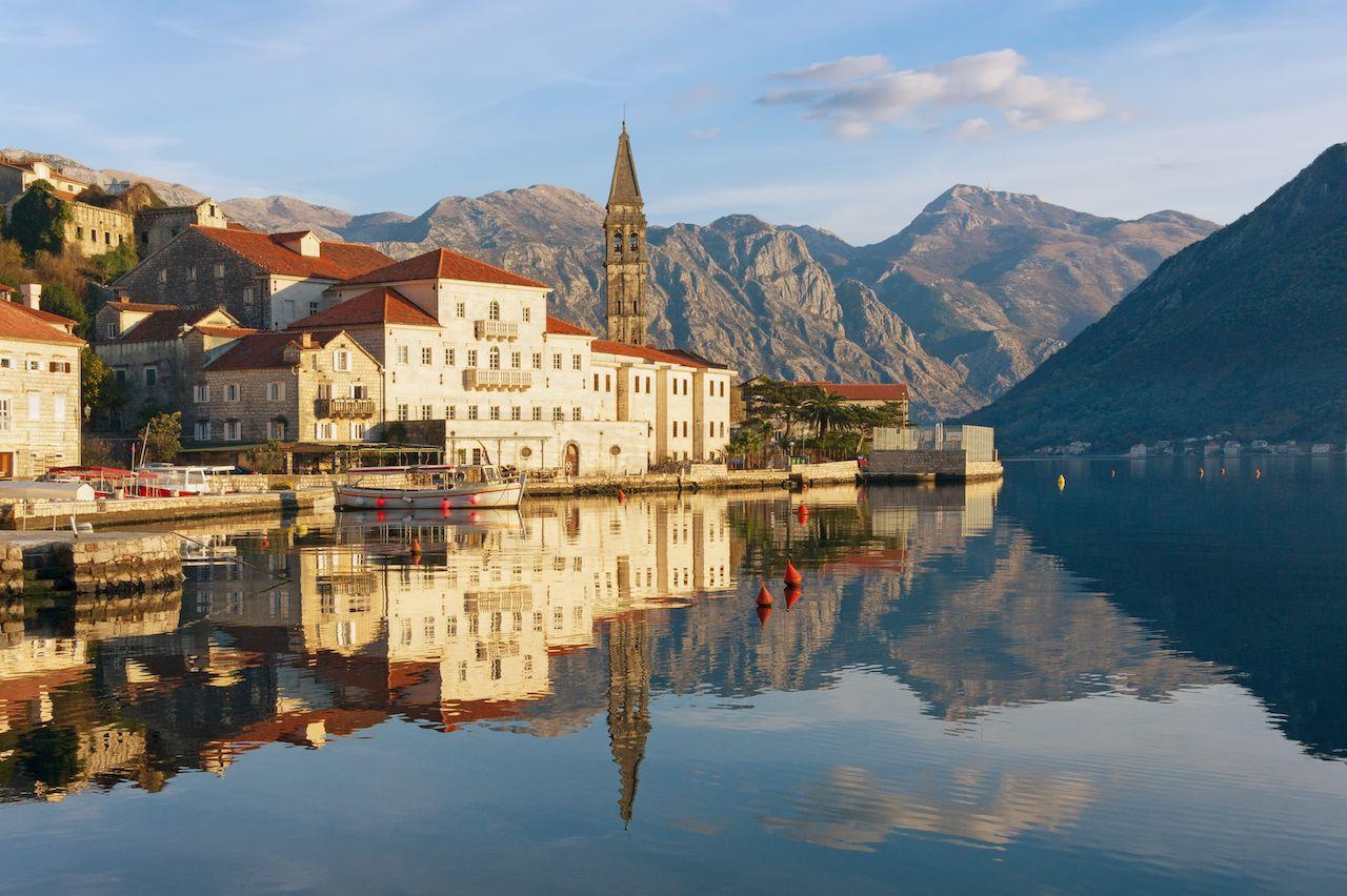 Perast in the Bay of Kotor in Montenegro