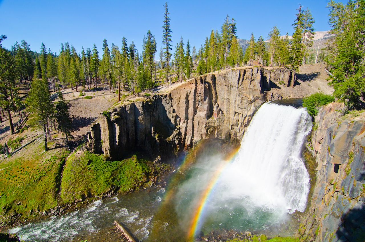 Double rainbow at Rainbow Falls, Devil's Postpile National Monument in California.