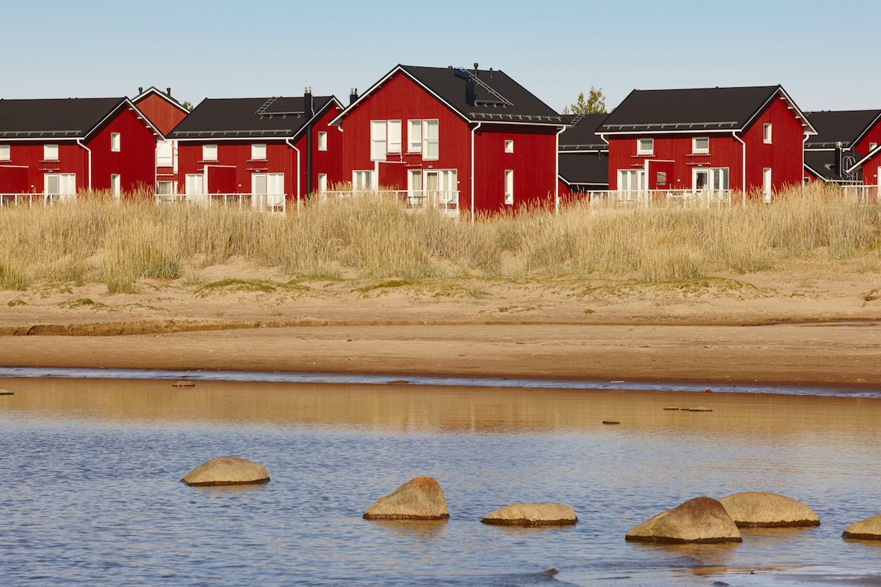 Red houses on Hailuoto Island Finland
