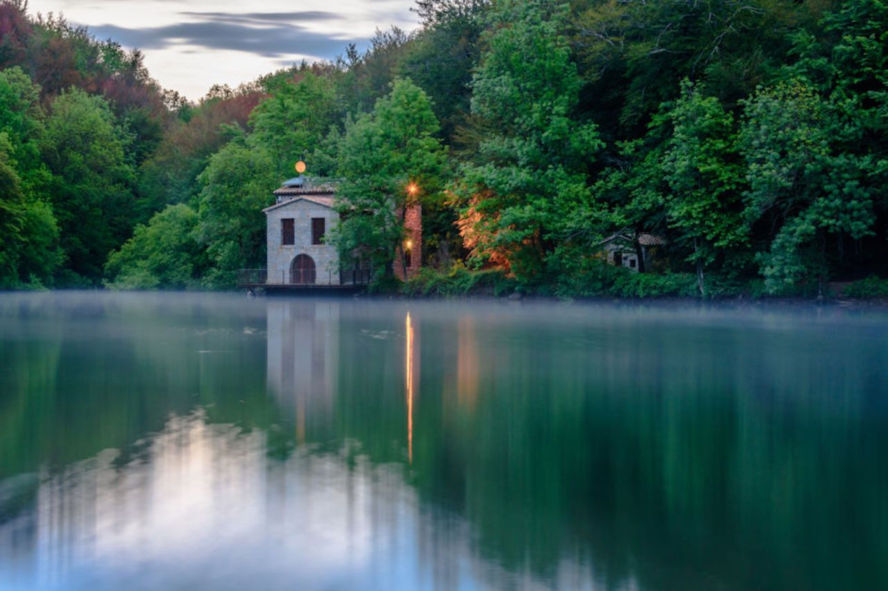 Reflections at the Santa Fe Reservoir in the Natural Parc of Montseny in Catalonia, Spain
