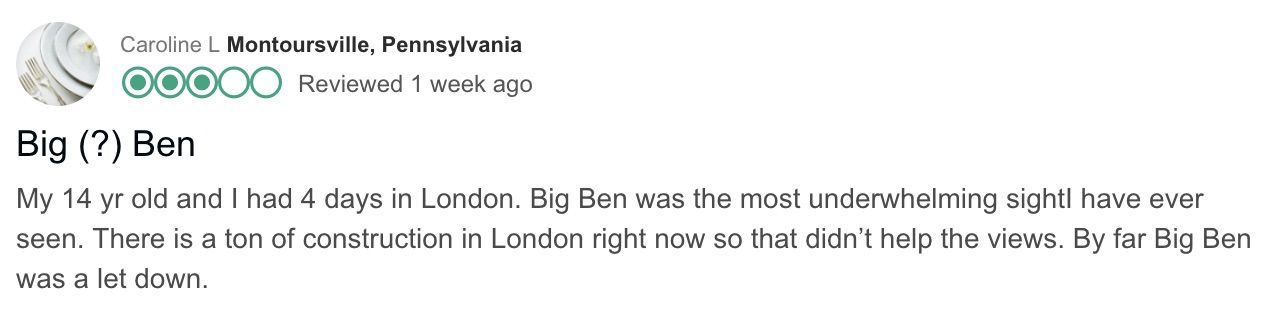 People unhappy about Big Ben repairs leave reviews