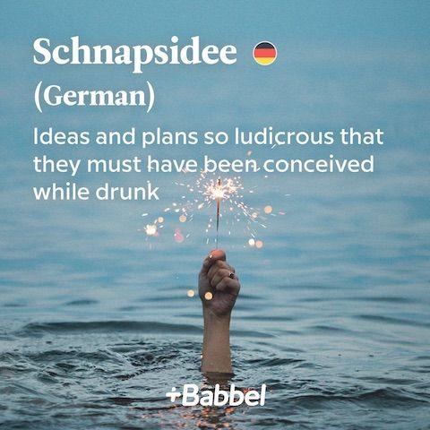 Schnapsidee German word