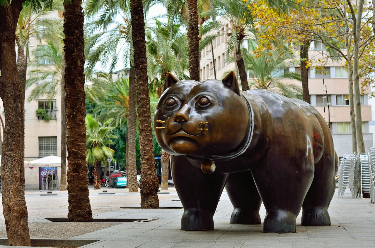 Sculpture of cat in in the El Raval district of Barcelona Spain