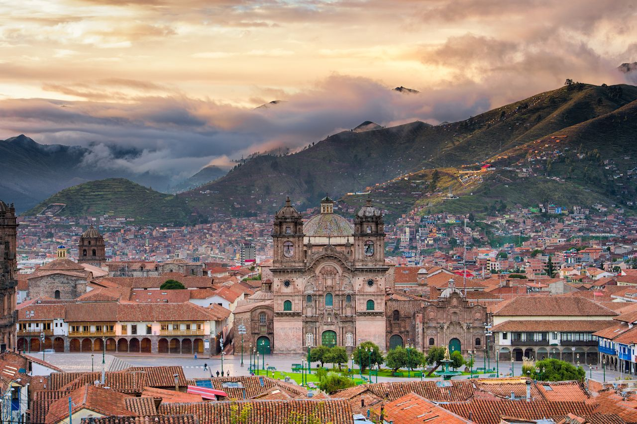Sunrise over plaza in Cusco, Peru