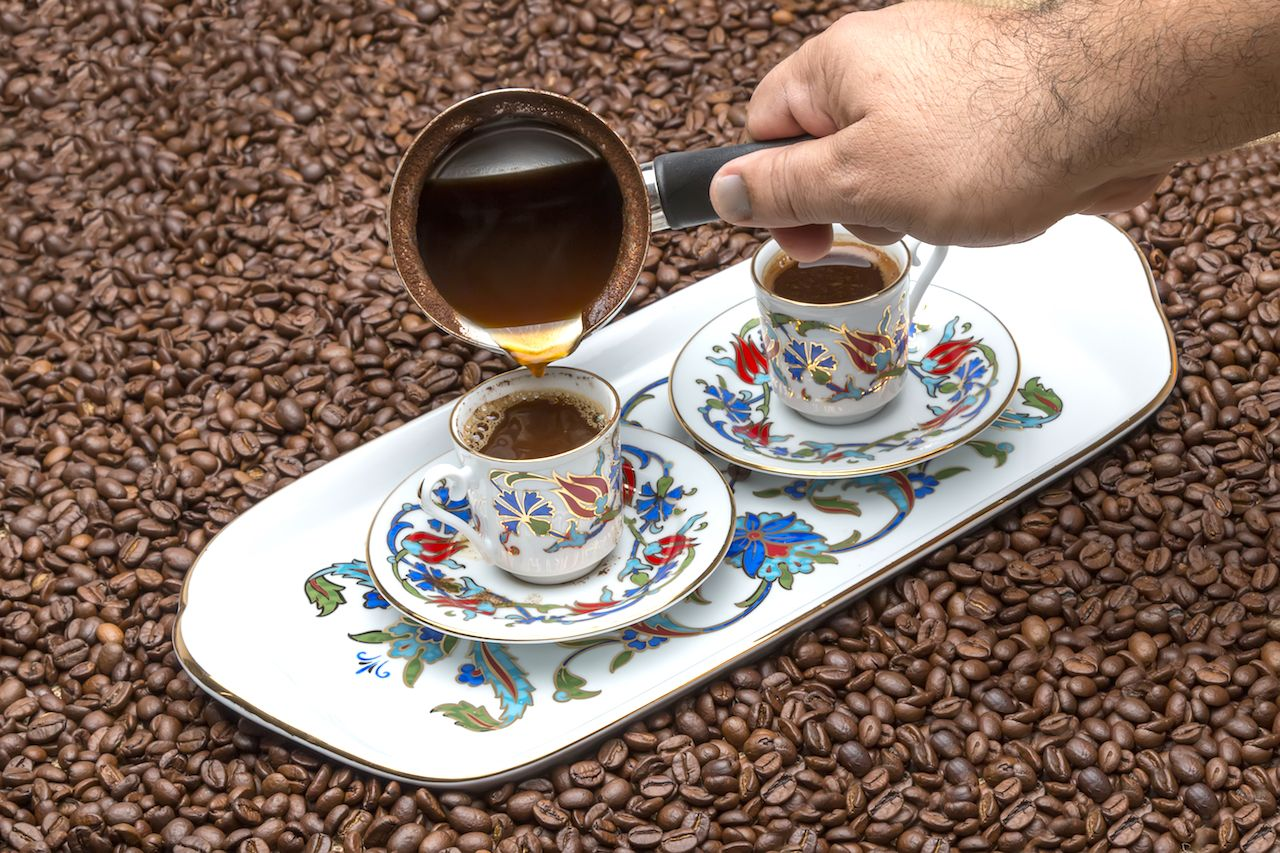Turkish coffee being poured