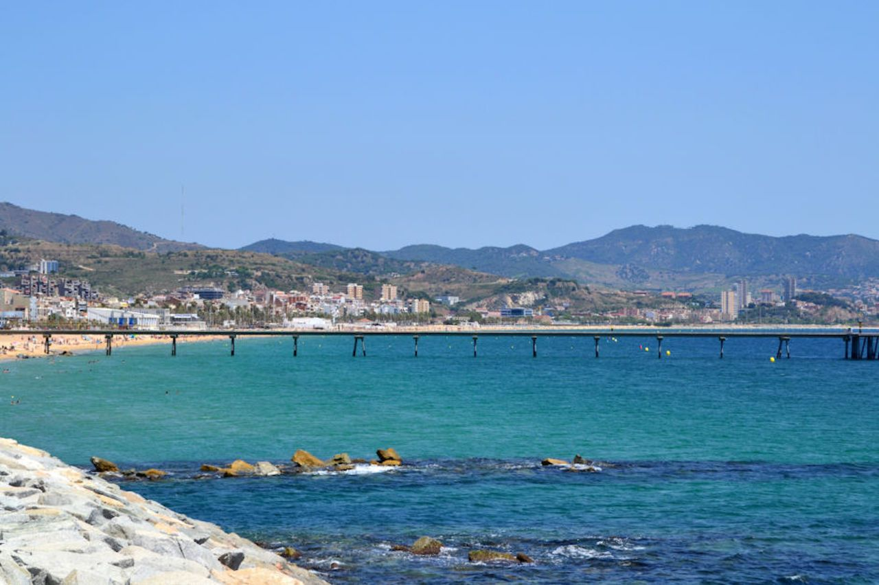 View of Badalona Beach and Pont del Petroli in Catalonia, Spain