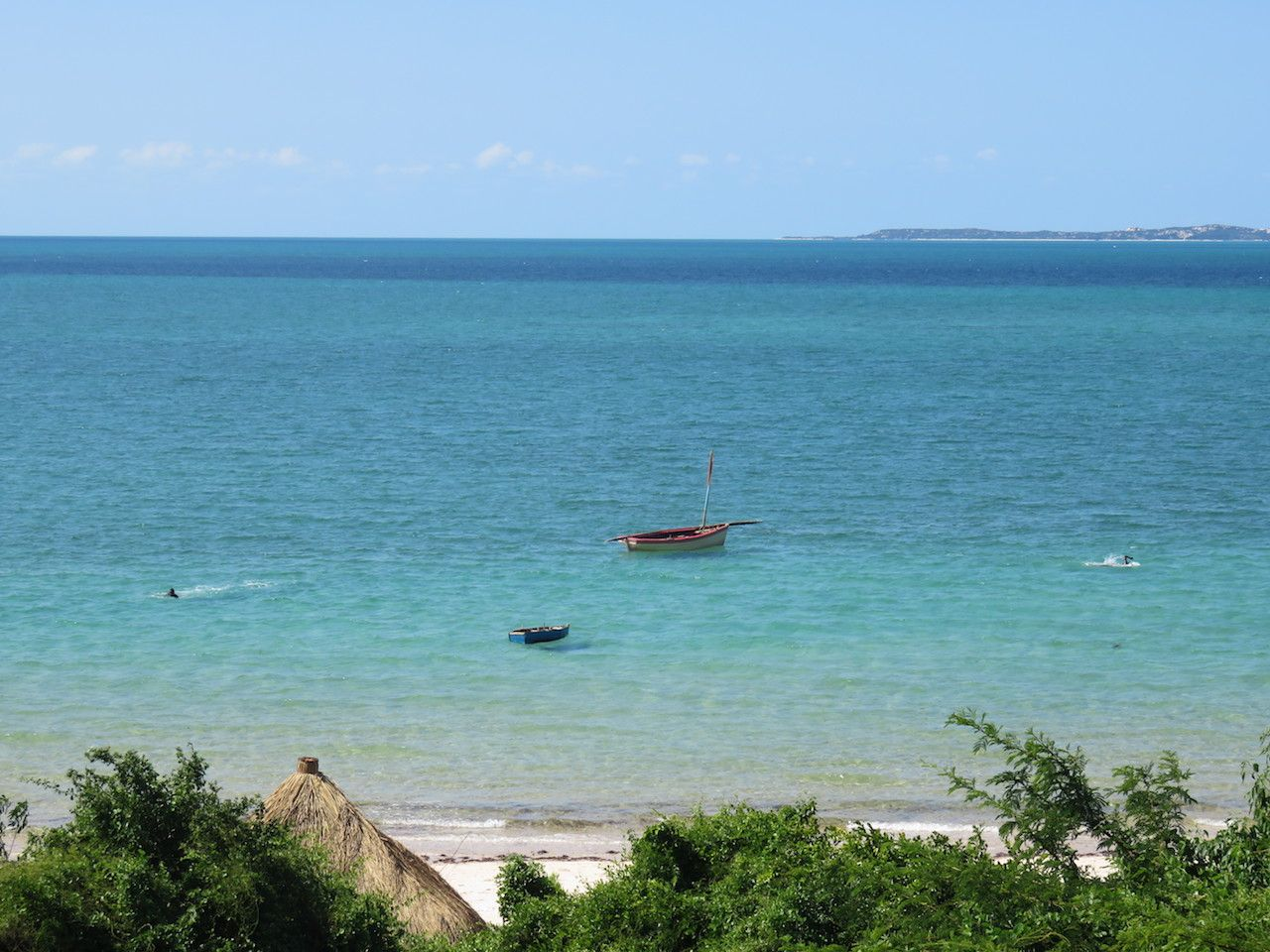 View of the beach and Indian Ocean in Vilanculos in Mozambique