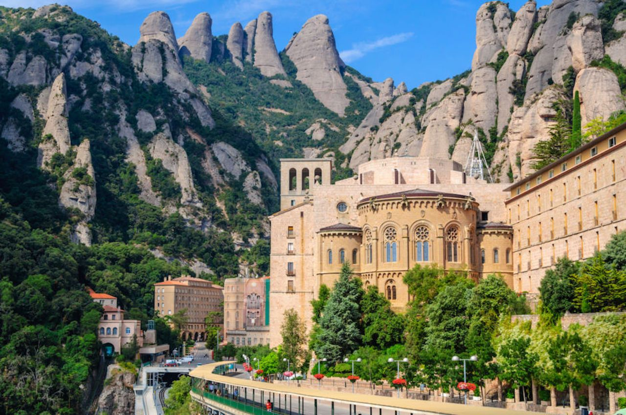 View the famous Catholic monastery of Montserrat on the background of round rocks, Catalonia, Spain
