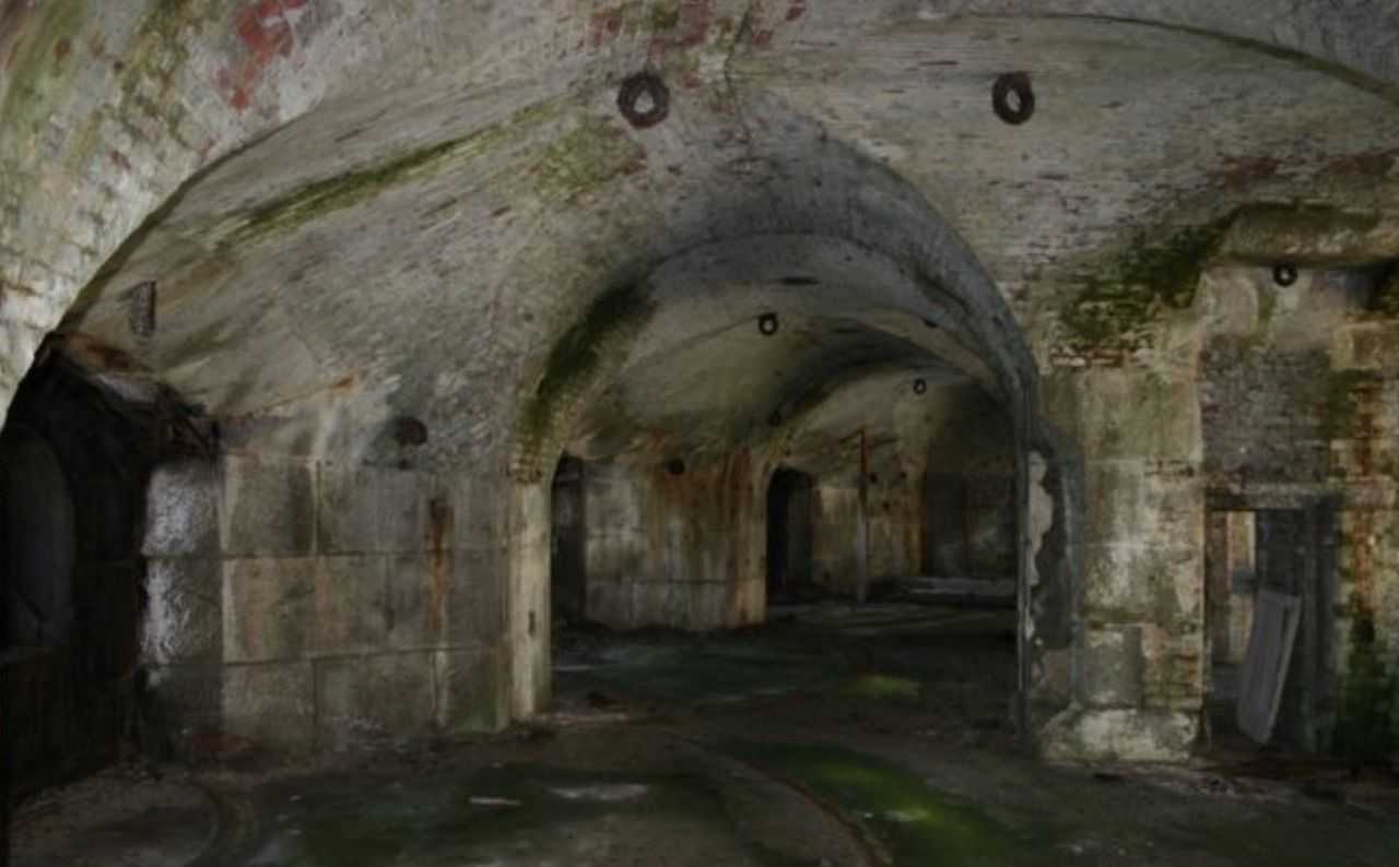 Interior of Welsh island fort
