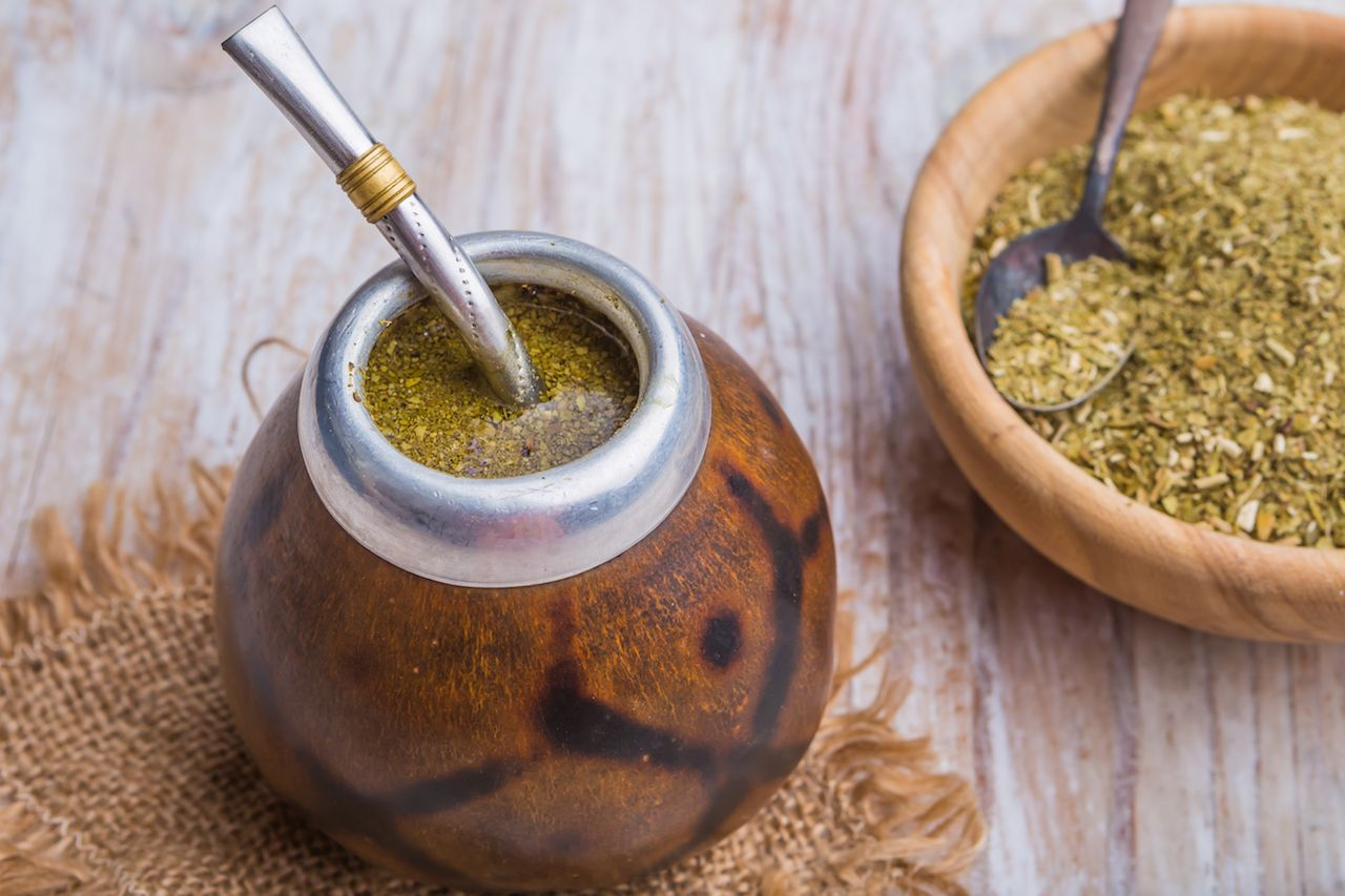 Yerba Mate in traditional gourd cup