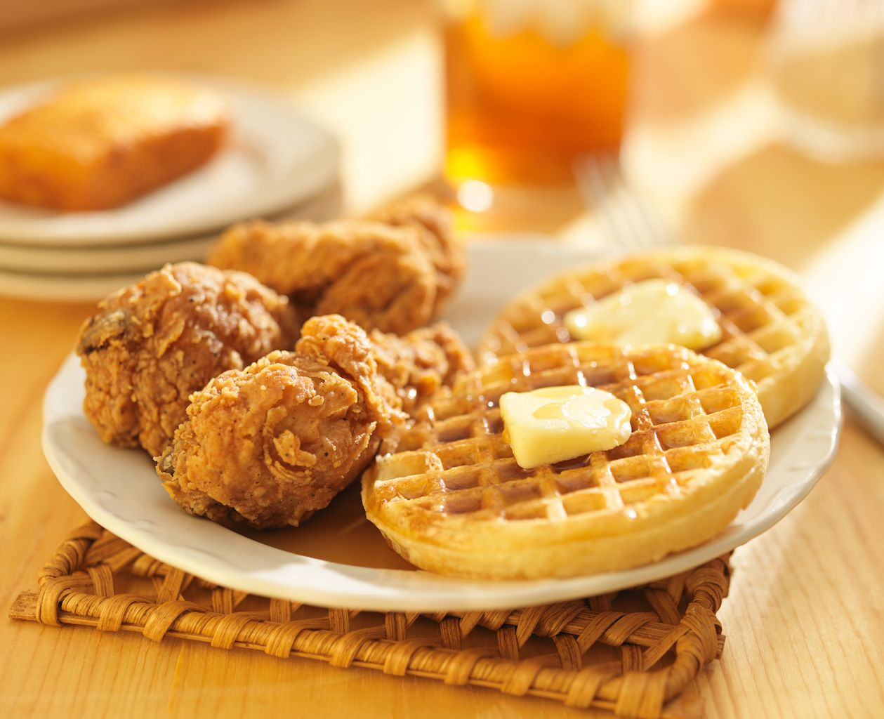 KFC serves chicken with waffles