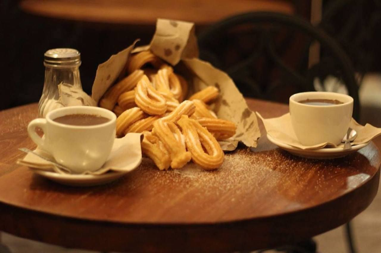 churros and hot chocolate in a Barcelona cafe