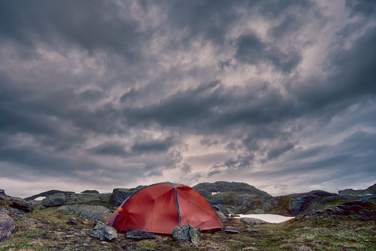 tent pitched in Norway