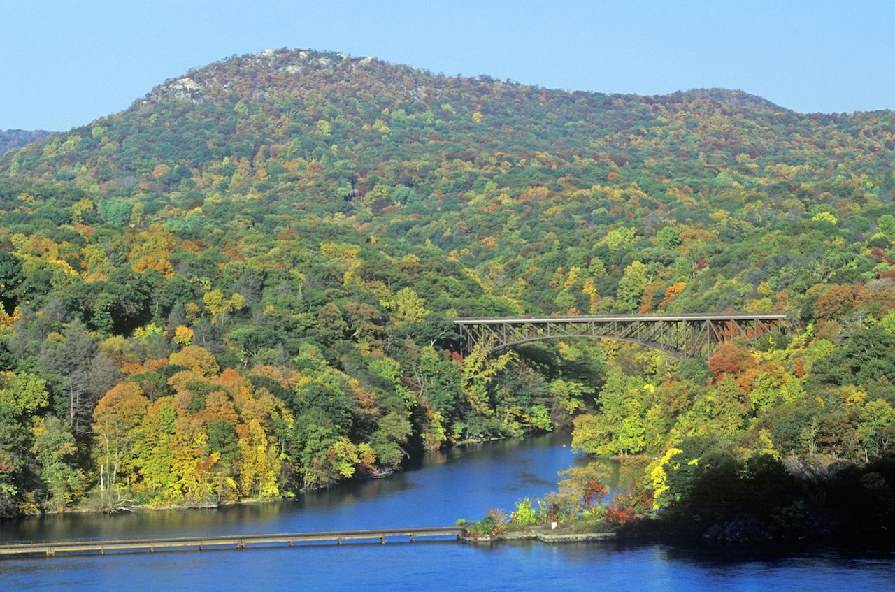 Hudson River and Bear Mountain Bridge, NY