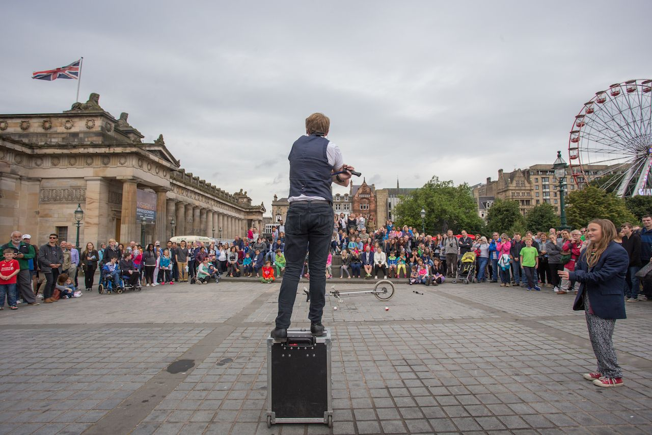 Artist performing during the Edinburgh Fringe Festival