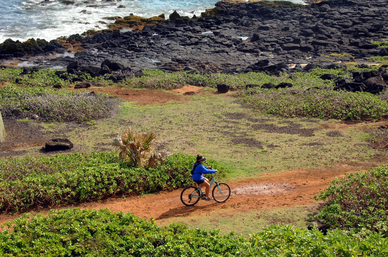 Biker on a trail in Kauai, Hawaii