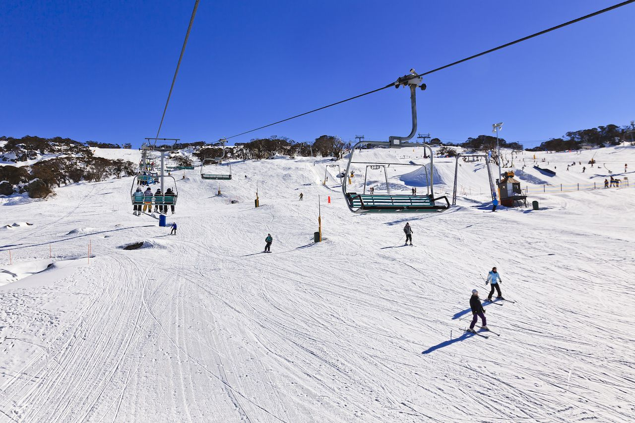 Chairlift over slopes