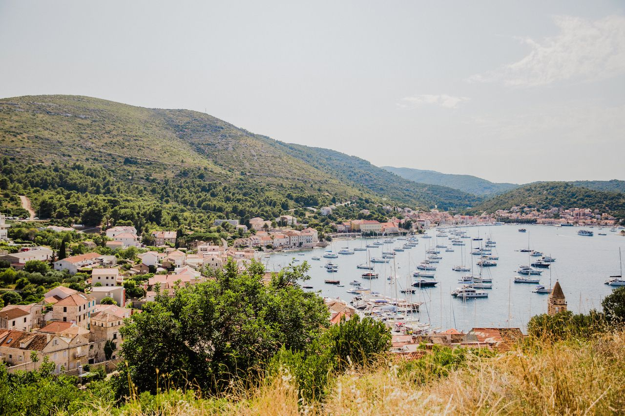 Croatia Yacht Week boats and countryside