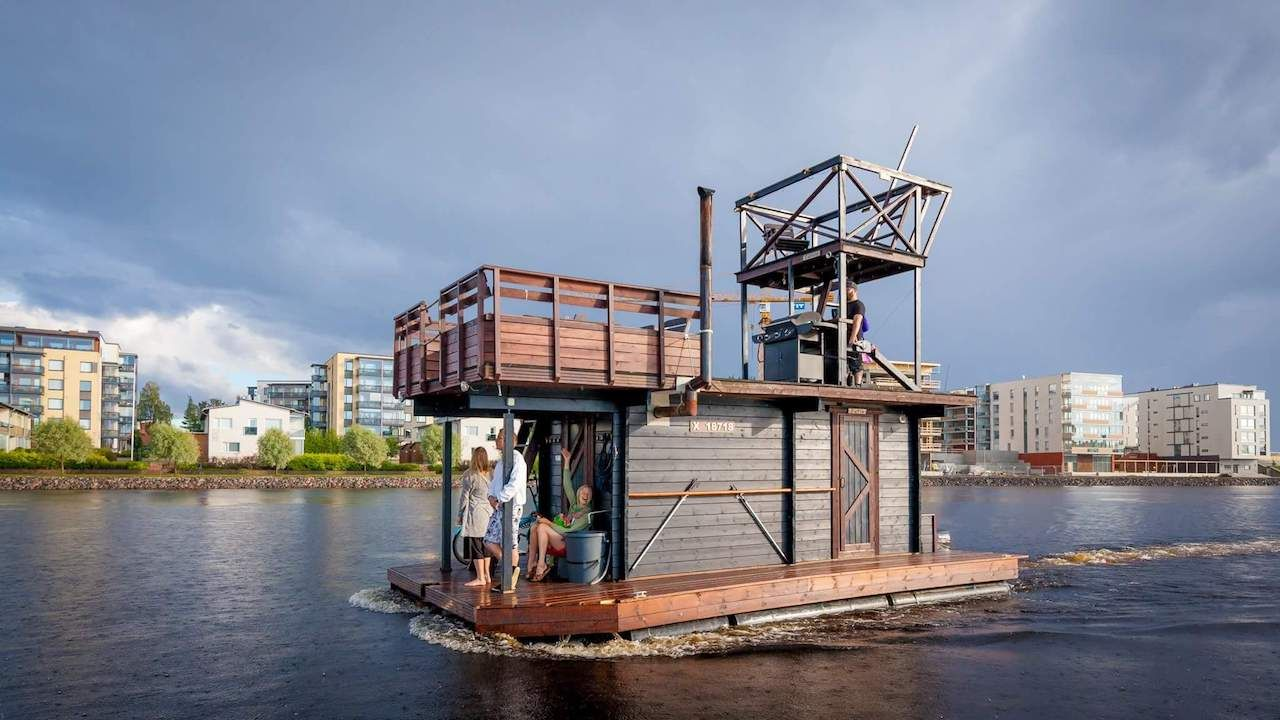 DIY sauna raft in Joensuu, Finland