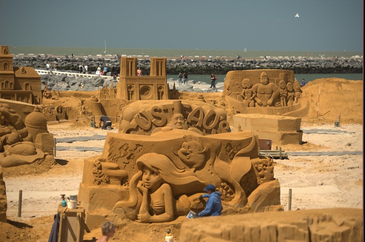 Sand Sculpture Of A Shark At St Kilda Beach In Melbourne Australia
