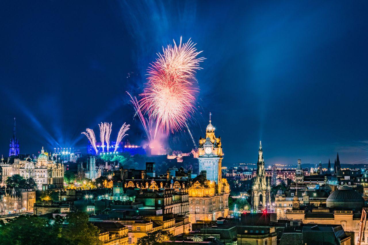 Fireworks during Edinburgh Military Tattoo, Military Parade
