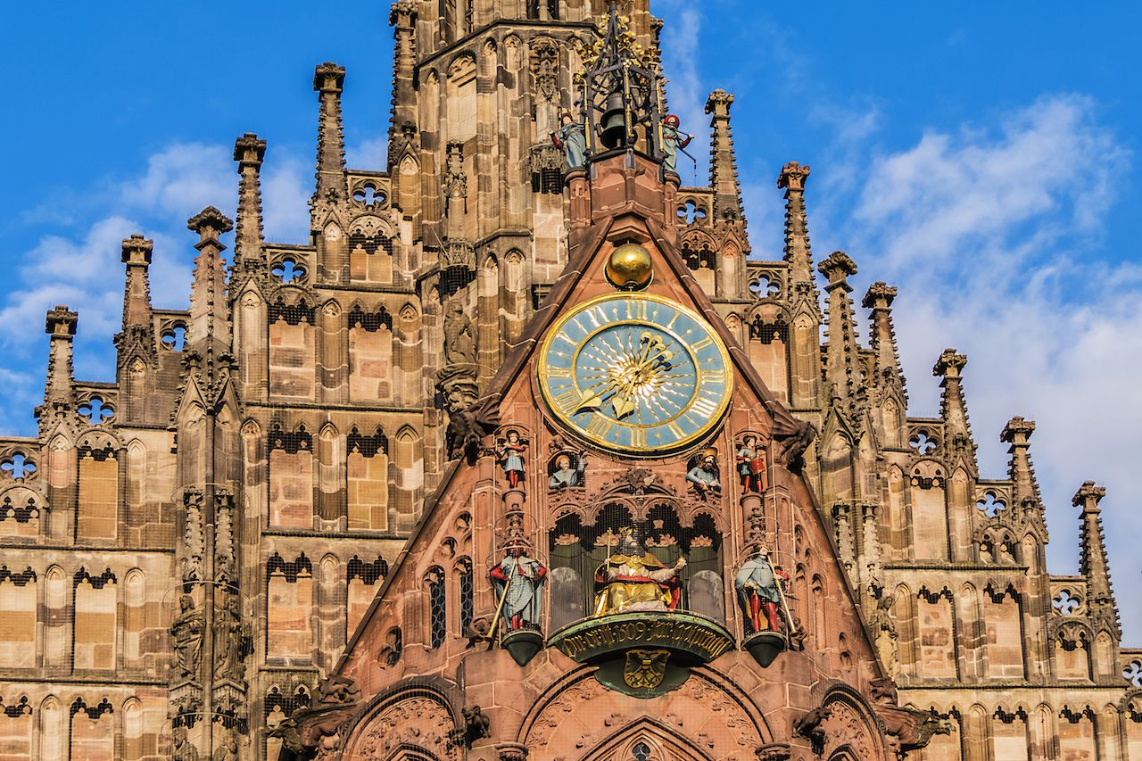 Clock face at the Frauenkirche in Nuremberg, Germany