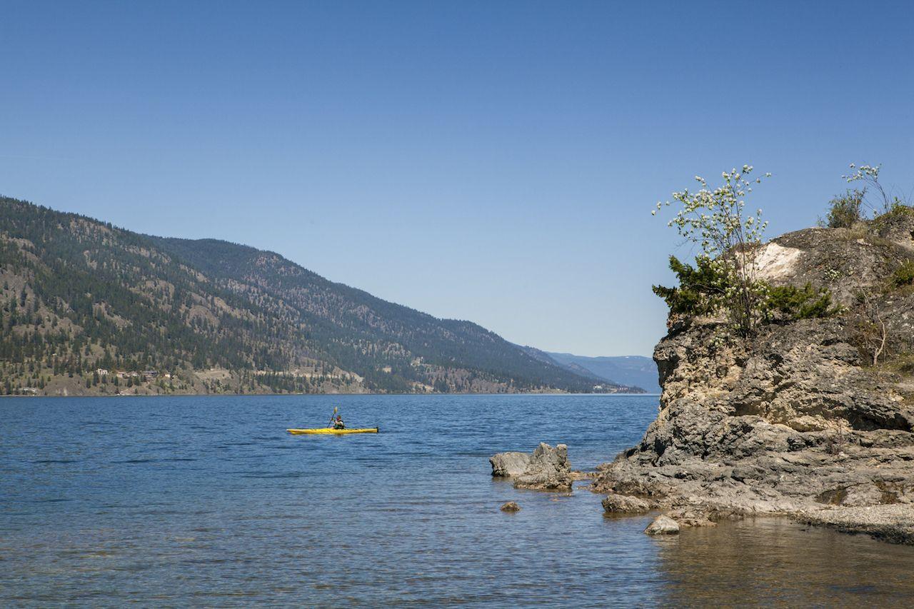Kayaking on Lake Okanagan in Canada
