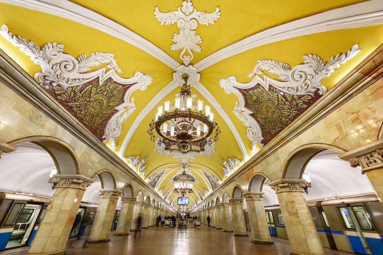 Komsomolskaya metro station Moscow Russia