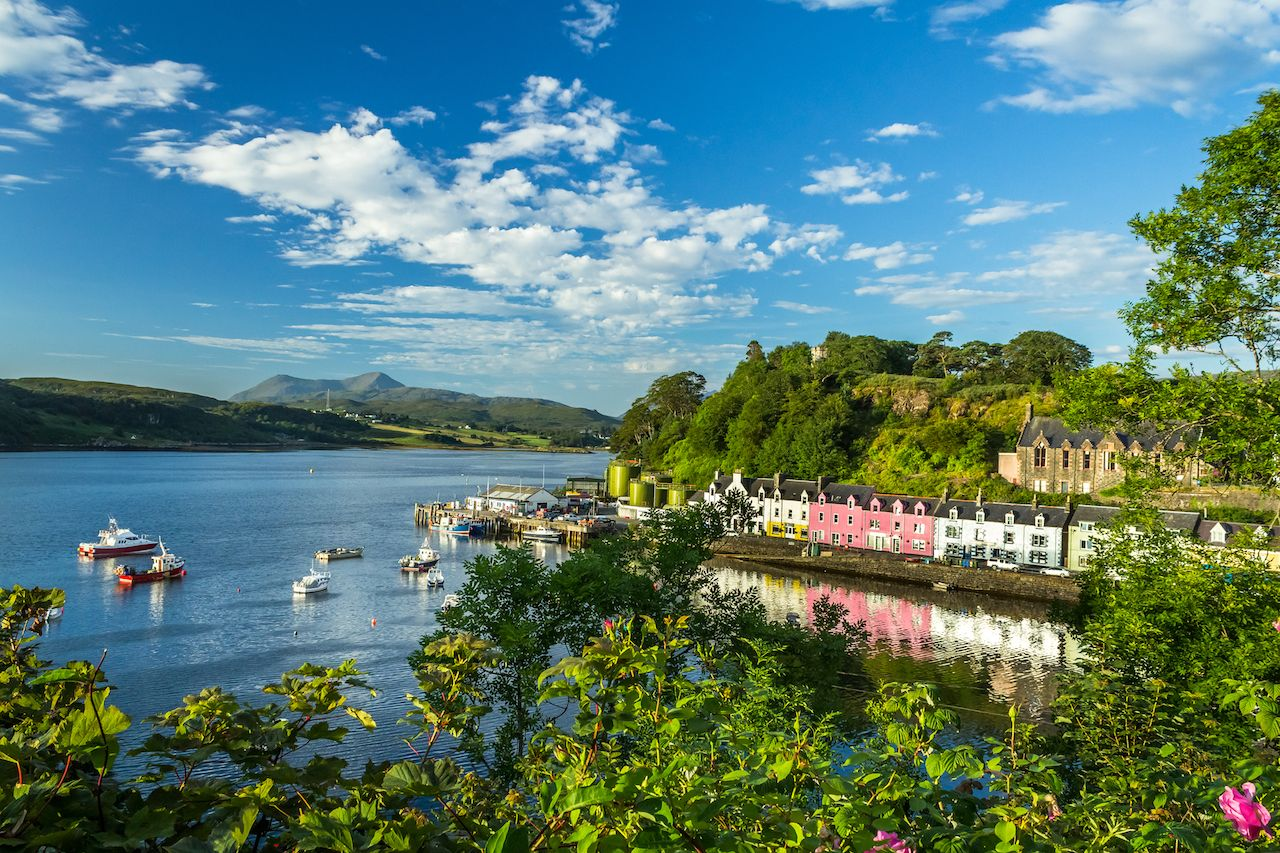 Portree, Scotland under blue skies