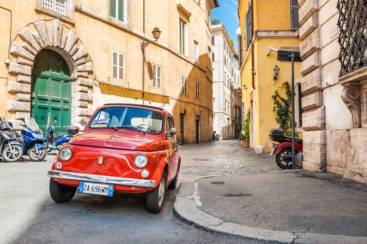 Red vintage Fiat Nuova 500