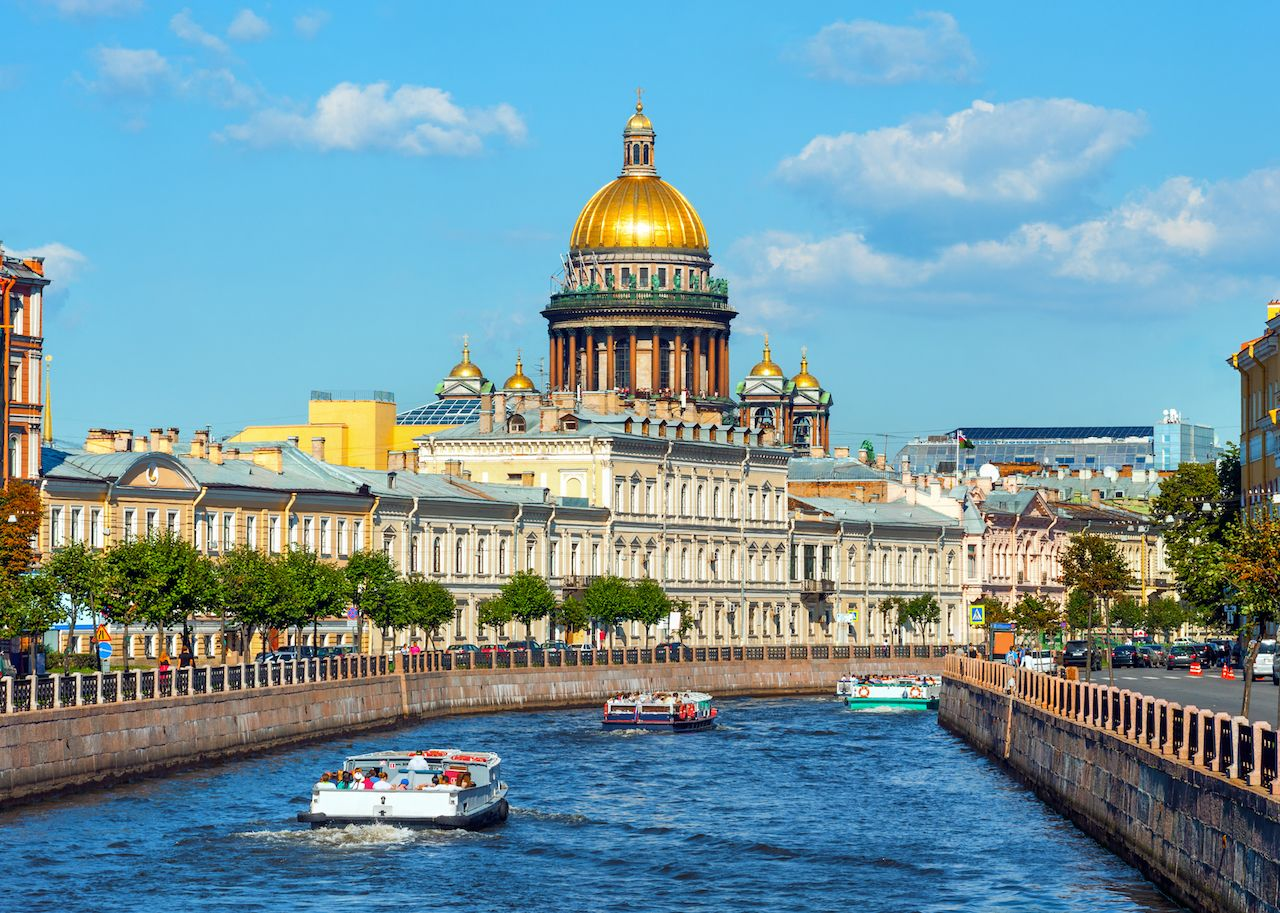 Saint Isaac Cathedral across canal in St Petersburg, Russia