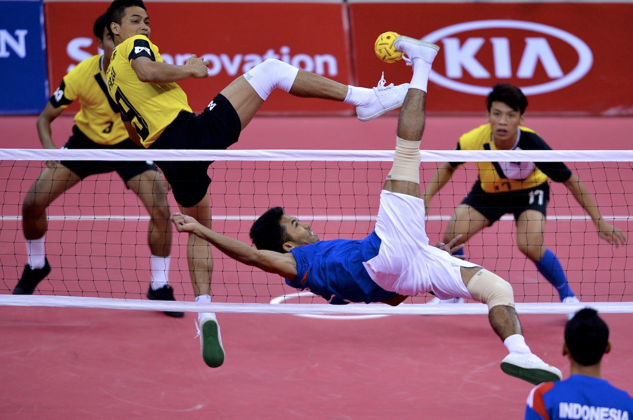 Sepak takraw player action