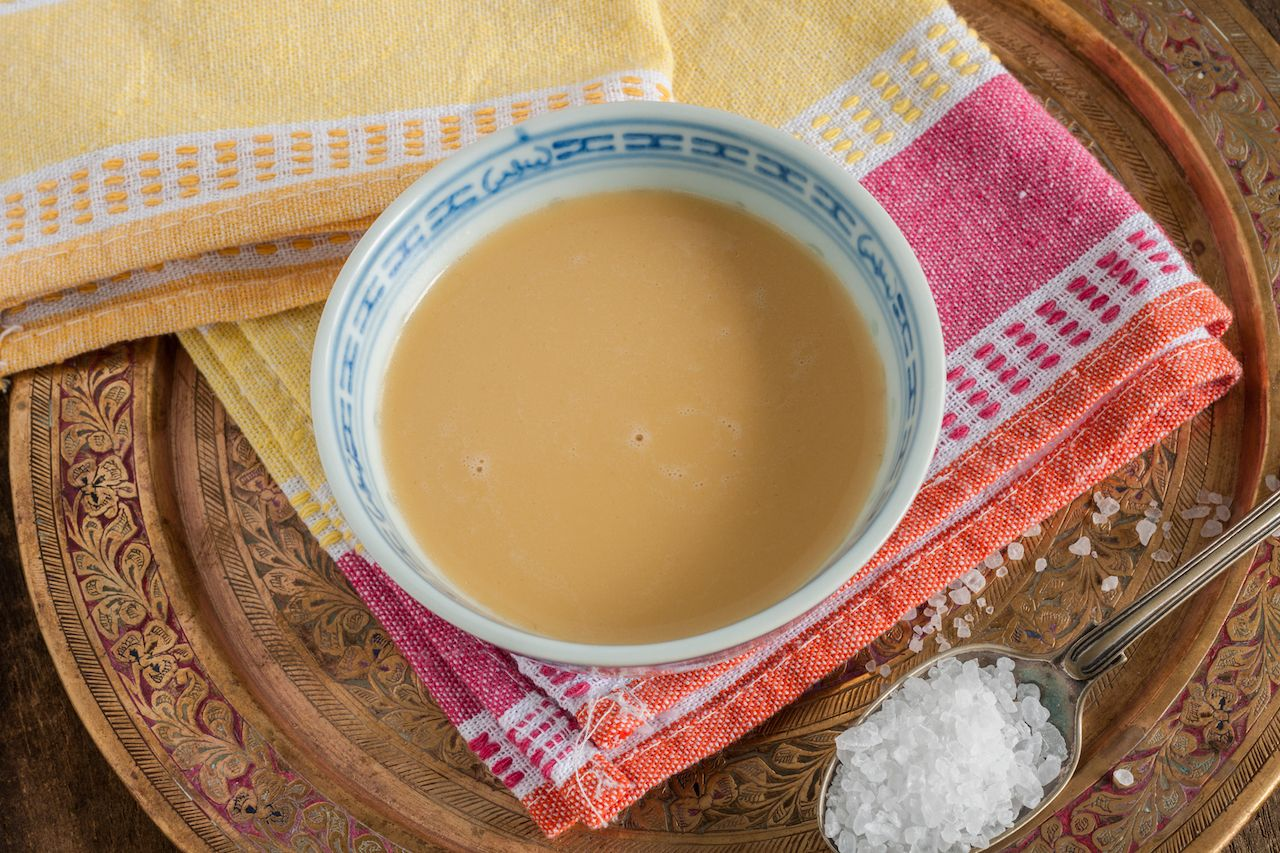Tibetan yak butter tea or po cha