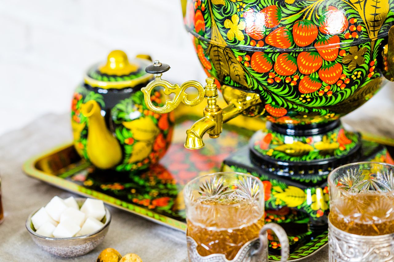 Traditional Russian tea ceremony with samovar